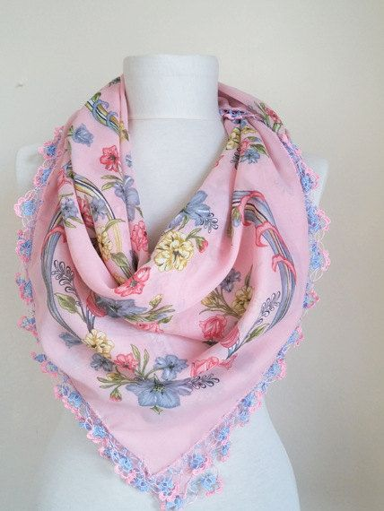 Turkish scarf // square scarf // Oya scarf // Pink by ScarfsSale