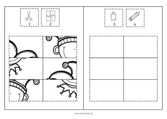 Fasching-Karneval-Puzzles: Ausschneiden, puzzeln, aufkleben, ausmalen. Gut für die Wahrnehmung und Feinmotorik.