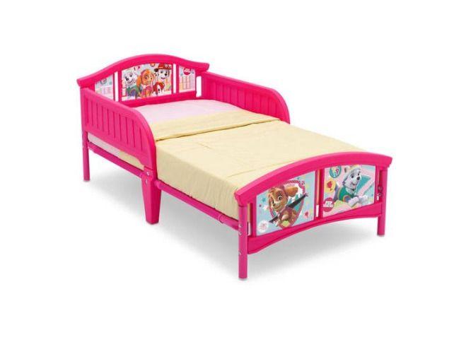 Girls Toddler Bed Paw Patrol Skye And Everest Pink Bedroom Furniture Bed Rails #Delta