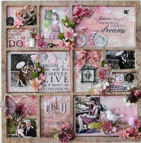 Shadow box - full of inspiring words and quotes, paired with appropriate photos and embellishments - scrapbook page decor - i really love this piece!