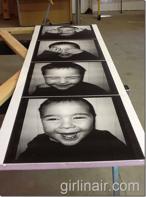 (Unique photo booth collage that is inexpensive to make) Take some cute snapshots of your kids....order 18x24 engineering prints from Staples and put it all together...would be REALLY fun for our art wall or in a kids room.