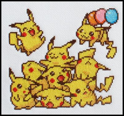 it would be really cute to make a cross stitch of all the different pikachu shots