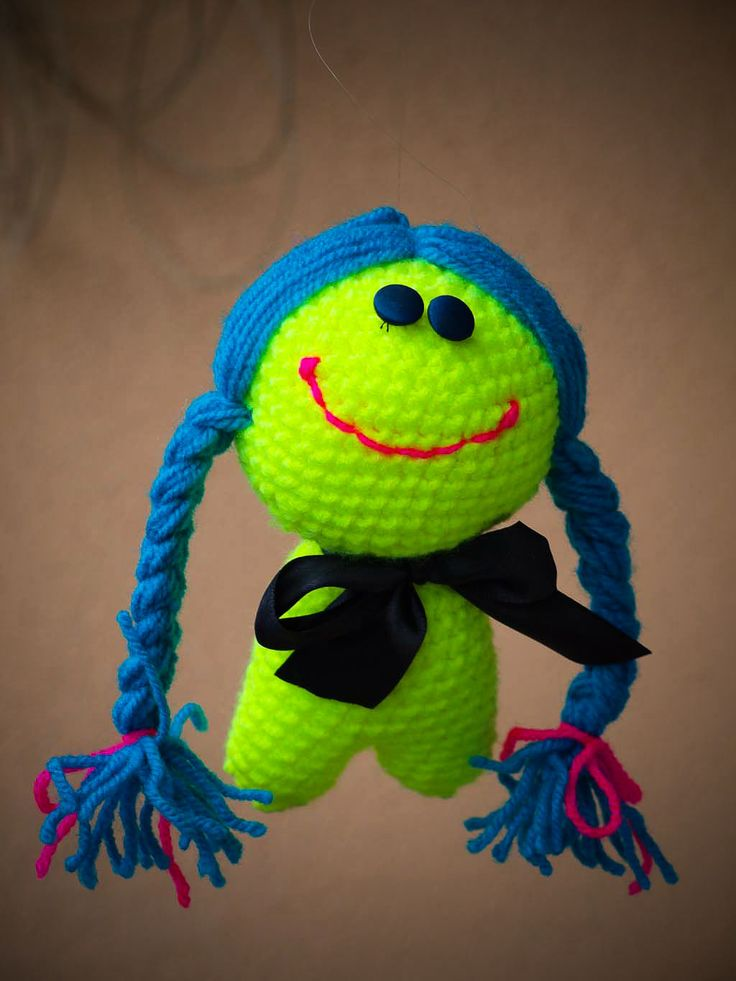 funky crochet doll in bright colour for mor happines