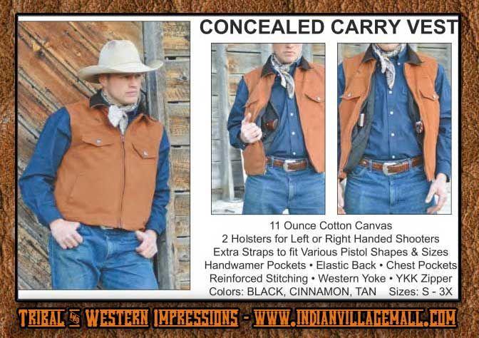 Canvas Concealed Carry Cowboy Vest