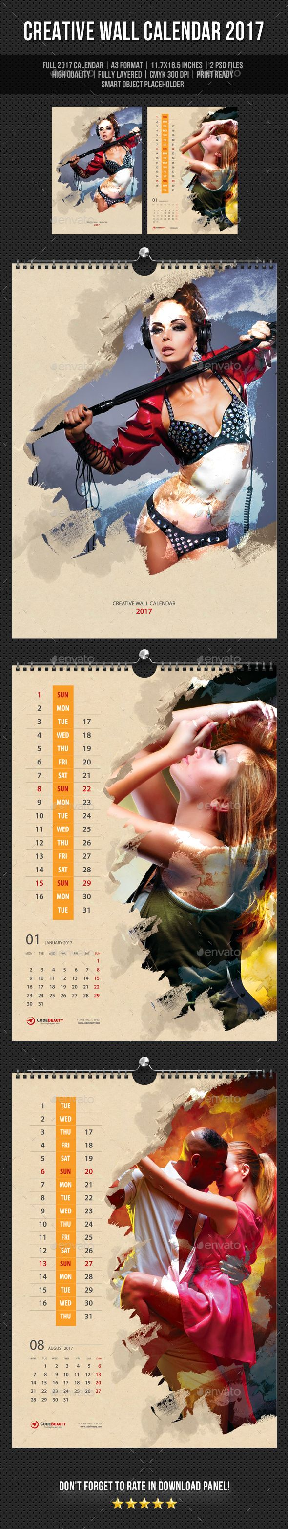 Creative Wall Calendar 2017 Template PSD