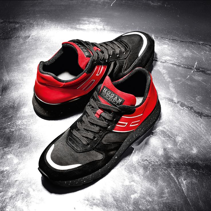 #HOGANREBEL Men's black and red R261 sneakers with metallic details for a dynamic look. #HOGANClub #HOGANClubbingAt
