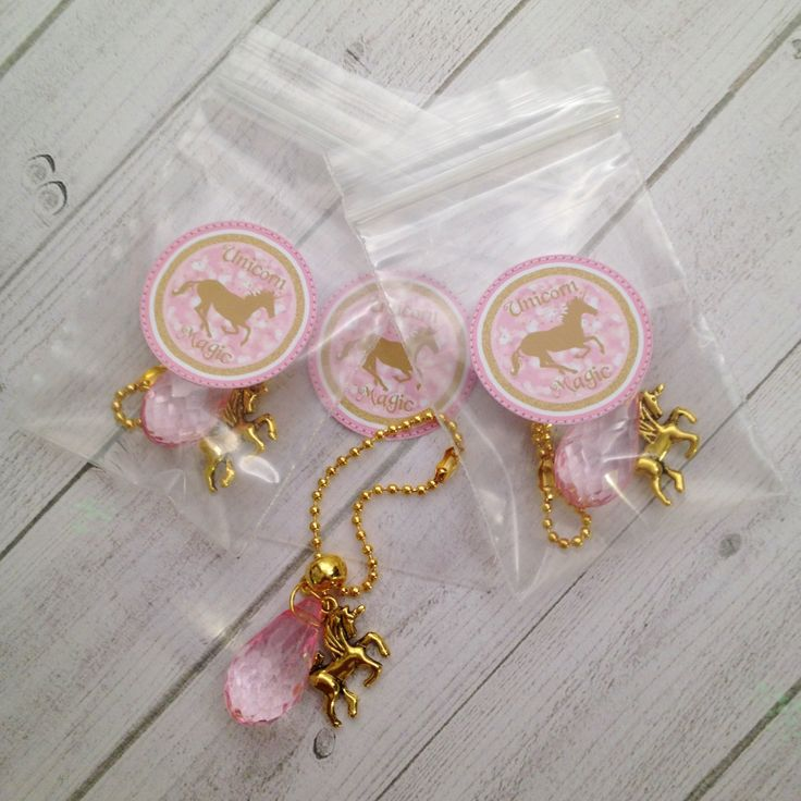 8 Unicorn Backpack Charms Zipper Pulls Pink & Gold Unicorn Party Favors Pink and Gold Party Favors Unicorn Birthday My Little Pony Party by MichelleAndCompany on Etsy