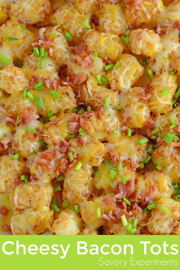 Cheesy Bacon Tots are an easy appetizer for watching football or parties, or even a side dish for hamburgers or hot dogs! Loaded tater tots are the best!