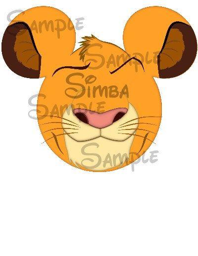 Lion King Simba digital Printable Mickey head file on Etsy, $3.00