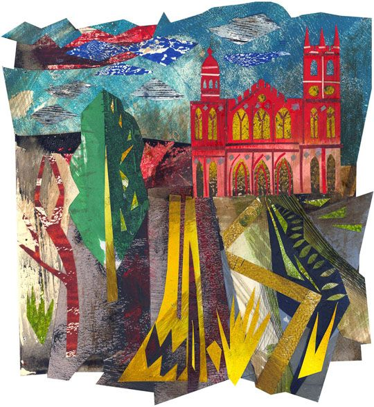 'The Gothic Temple, Stowe' by Ed Kluz (Mixed media and paper collage)
