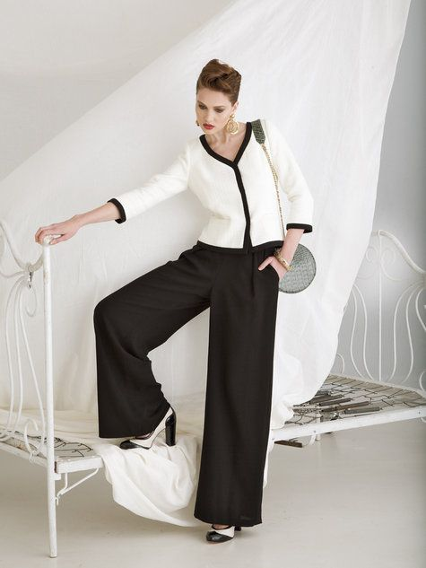 Wide-leg wool crepe trouser pattern - Burda Style Feb 2013