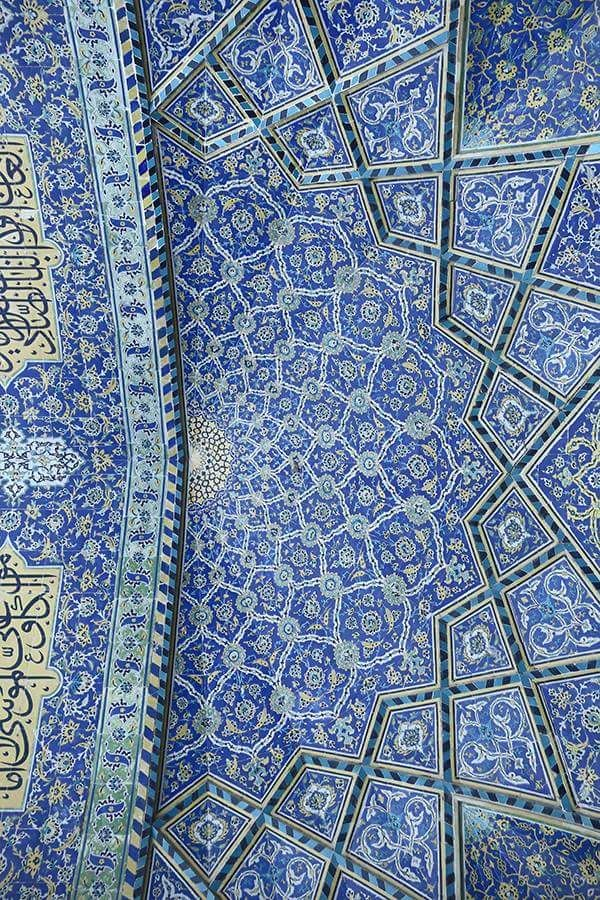 This intricate patterning on a mosque ceiling would be fairly easy to replicate on a set design.