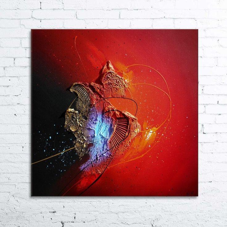 Coeur de glace tableau abstrait moderne contemporain peinture acrylique en relief noir rouge - Tableau peinture acrylique moderne ...