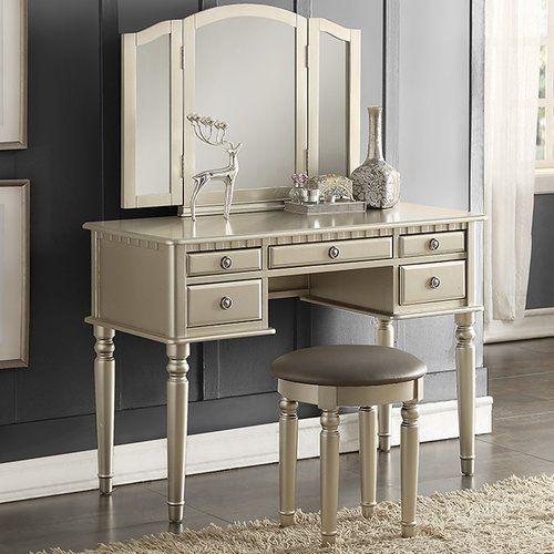Infini Furnishings Diana Vanity Set with Mirror