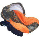 Camo car seat - http://www.squidoo.com/camo-baby-stuff  Infant Car Seat Cover, Baby Car Seat Cover, Slip Cover- Camo with Orange Minky! #ppgcamobaby