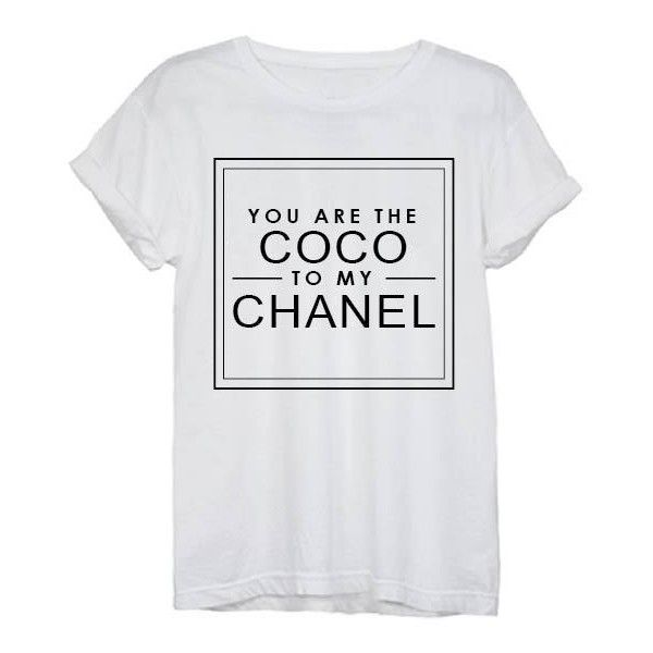 Coco to my Chanel Tee found on Polyvore featuring tops, t-shirts, white top, chanel, chanel t shirt, chanel tops and chanel tee