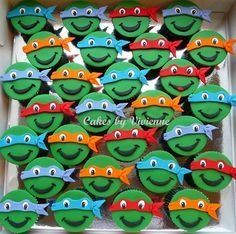 Chocolate and vanilla cupcakes with fondant Ninja Turtle toppers
