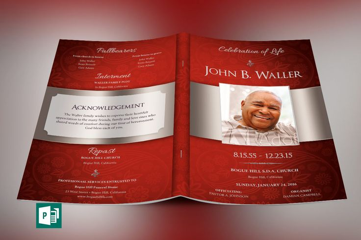 """Crimson Dignity Funeral Program Publisher Template is for a modern memorial or home going service. It's yellow silver decals and text style laid over a Crimson background will honor and dignify your loved ones. A great keepsake program.   This template is a Microsoft Publisher template designed by Godserv to be edited with Microsoft Publisher 7 and higher. Once you have downloaded this template, use Microsoft Publisher to make edits.  WHAT'S INCLUDED - 4– 11x8.5"""" Crimson Dignity Funeral P..."""