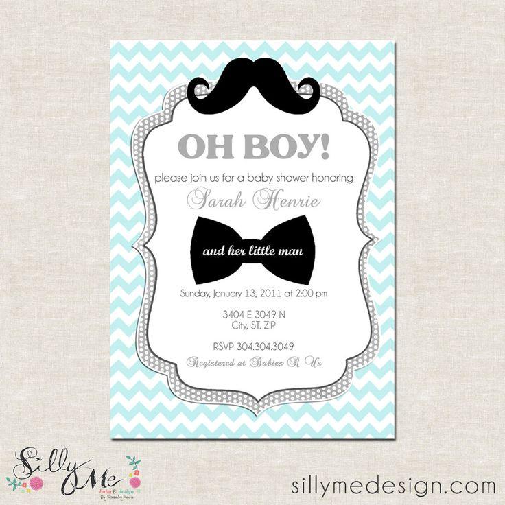 little man theme baby shower invitations   Little Man- Custom Baby Shower Invitation, Bridal Shower Invitation