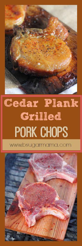 Cedar Plank Grilled Pork Chops