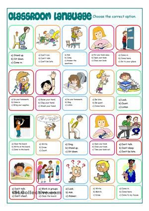 Multiple choice exercise on classroom language to practise the instructions. - ESL worksheets
