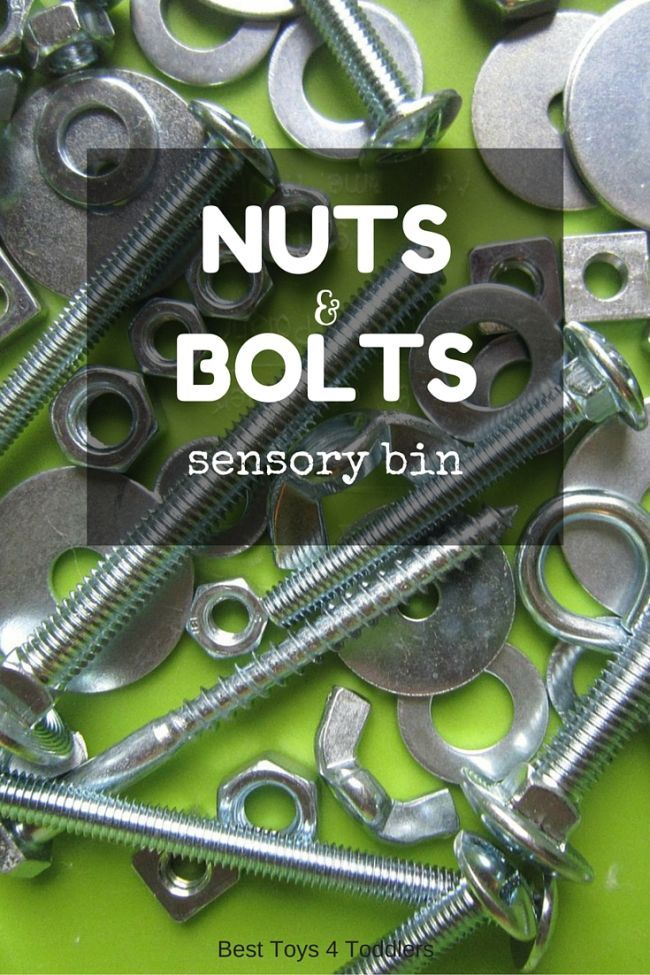 Nuts and bolts sensory play for little toddlers and preschoolers, perfect for fine motor practice too!