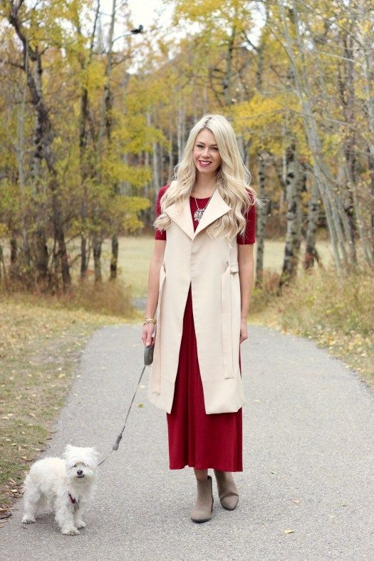 Shop The Mint - fall outfit ideas - burgundy maxi dress, neutral vest, ankle boots