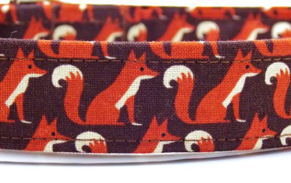 Fox Dog Collar Fox Dog Brown Collar Fox Soft by MuttsandMittens