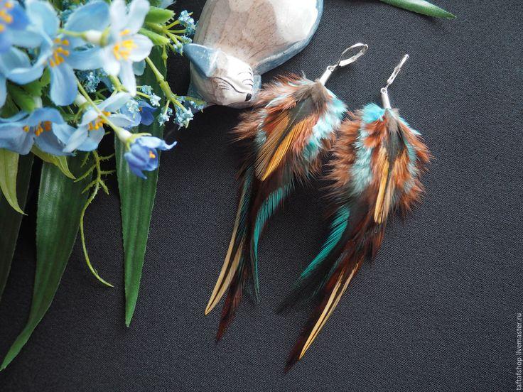 Египет - коричнево-бирюзовые серьги с перьями в стиле бохо - серьги с перьями