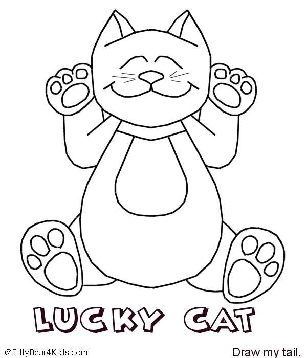 lucky cat coloring page