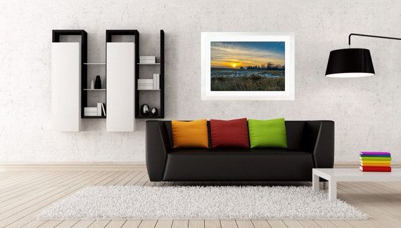 20x30 inch Framed Print Sunset over the Farm by DanJPhotography