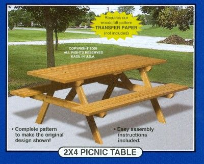 Winfield W1046 2x4 Picnic Table Wood Yard Furniture Craft