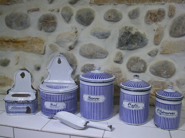 French Enameled Kitchen Canister Set // Enameled aluminet  // Enameled Salt box // Enameled Match box //  French Kitchen Canisters - pinned by pin4etsy.com