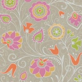 314021 Primitive Jacobean from Suzani by Brewster is a grey , pink , gold and green Jacobean floral wallpaper.  This fun and funky collection consists of 20.5/52 cm wide wallpapers is printed on a non woven substrate for easier removal.