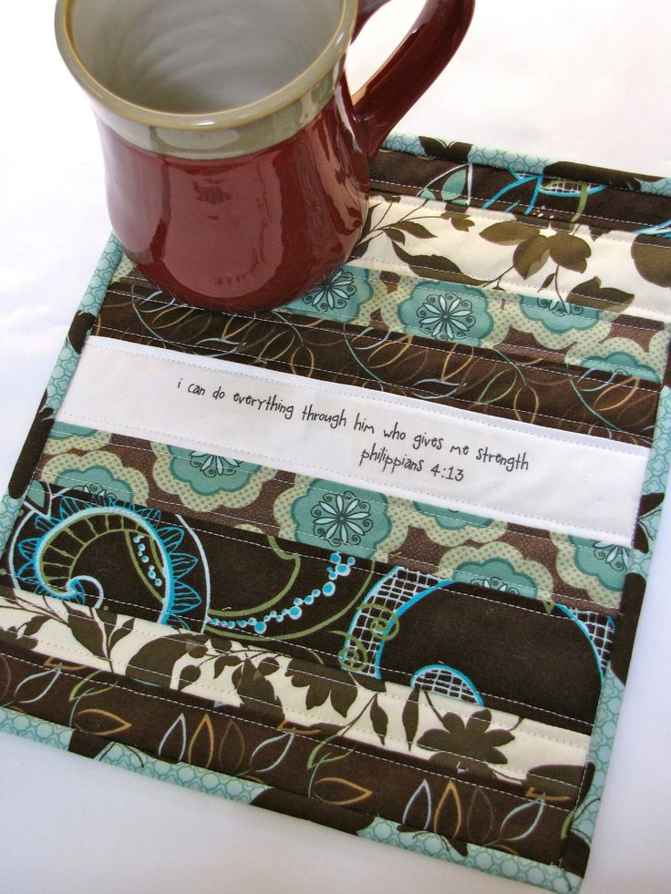 Phillippians 4:13 Scripture Mini Quilt/ Mug Rug. $20.00, via Etsy. (by Valerie at My Five Little Peppers)