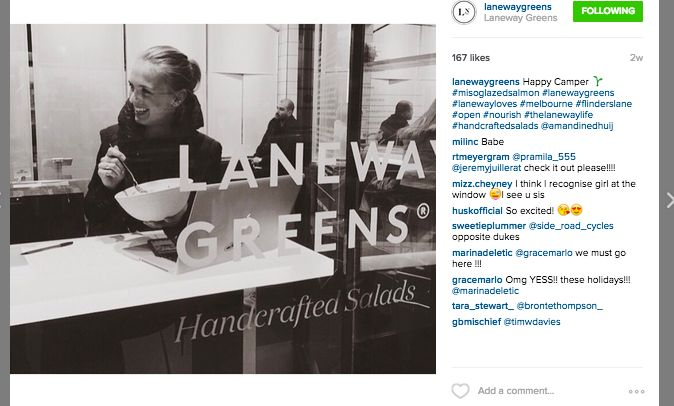 Hashtag win! Laneway Greens using local hashtags relevant to their audience