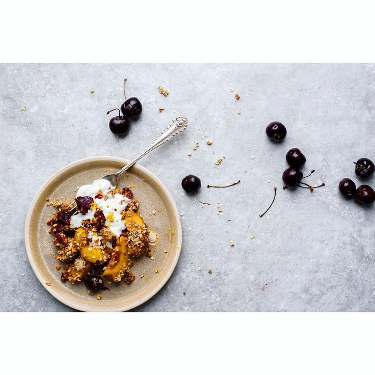 Yesterday's peach, cherry and walnut crumble for breakfast. @sytchfarmstudio plate #feedfeed: