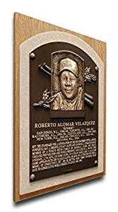 MLB Toronto Blue Jays Roberto Alomar Baseball Hall of Fame Plaque on Canvas, Medium, Brown, Price: $39.95