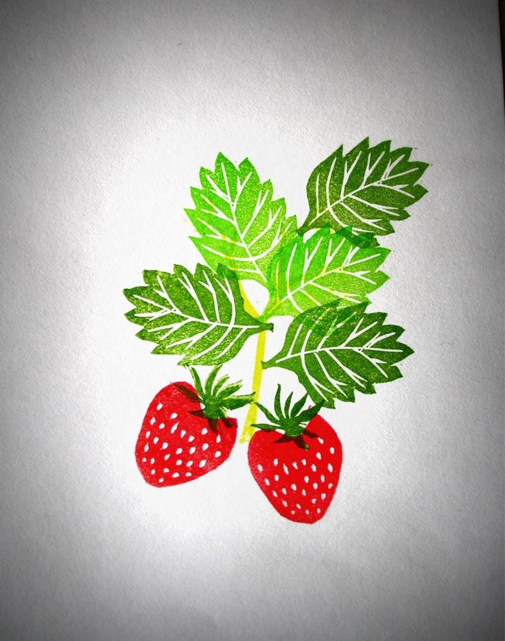 strawberry rubber stamp