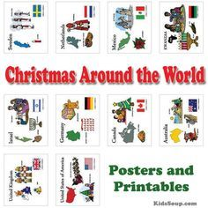 Christmas Around The World Posters Coloring Pages And Printables Great For Preschool Kindergarten