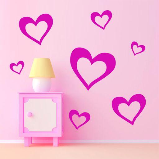 Pack de originales corazones de vinilo, muy románticos y bonitos.