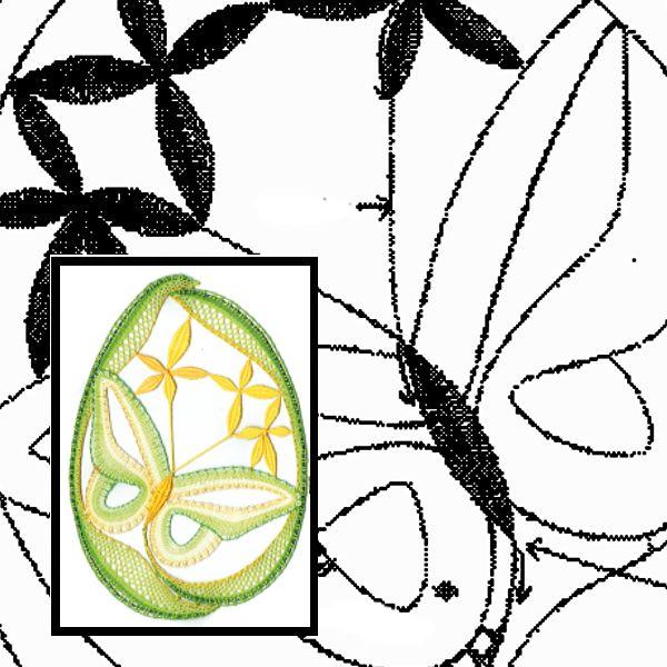 Klöppelbrief Schmetterling im Oval