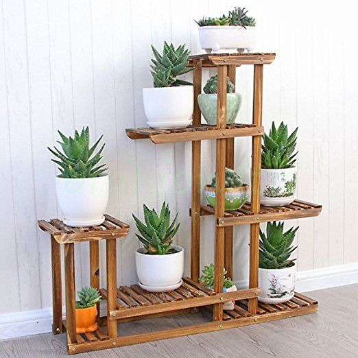 Best 25 wooden plant stands ideas on pinterest indoor for Pot shelf decorating ideas