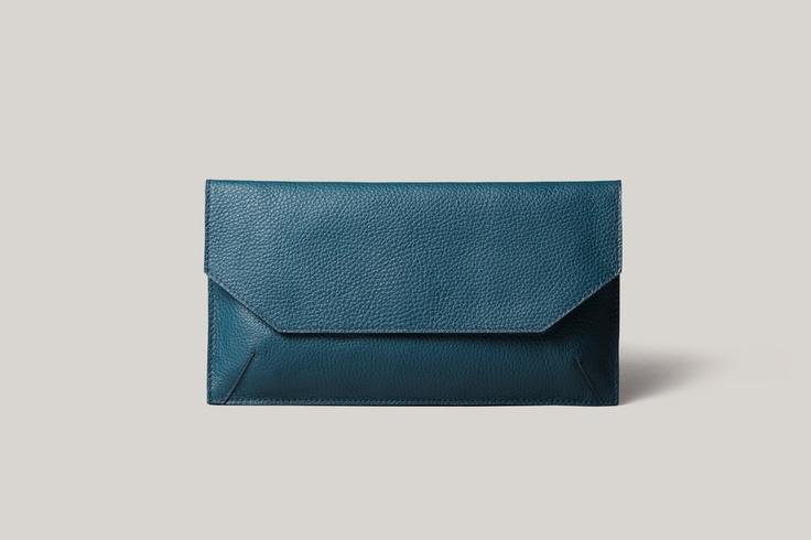 Petrol leather envelope - Brussosa