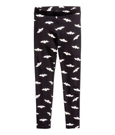 Tricot legging | Zwart/vleermuis | Kinderen | H&M NL