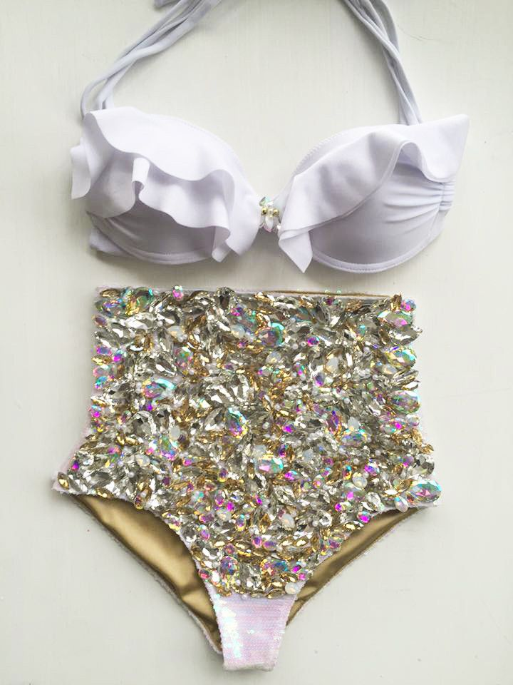 Smooch swimwear Karmel Renee High waisted sequin crystal bikini swimsuit