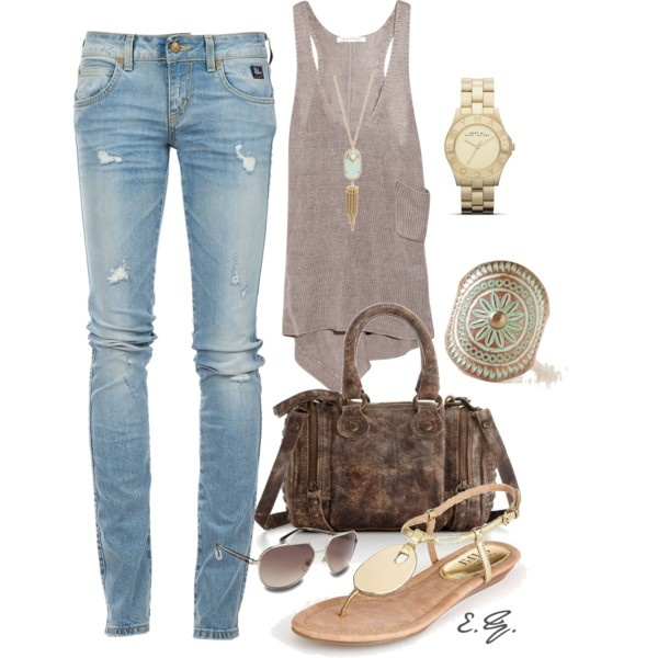 Linen Tank & Distressed Jeans