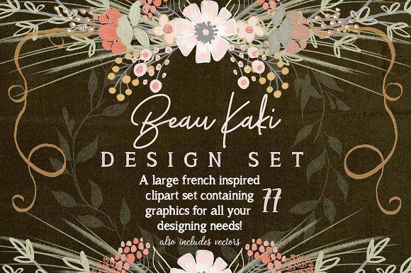 Beau Kaki French Floral Graphic Set by bridgett.stahlman on @creativemarket