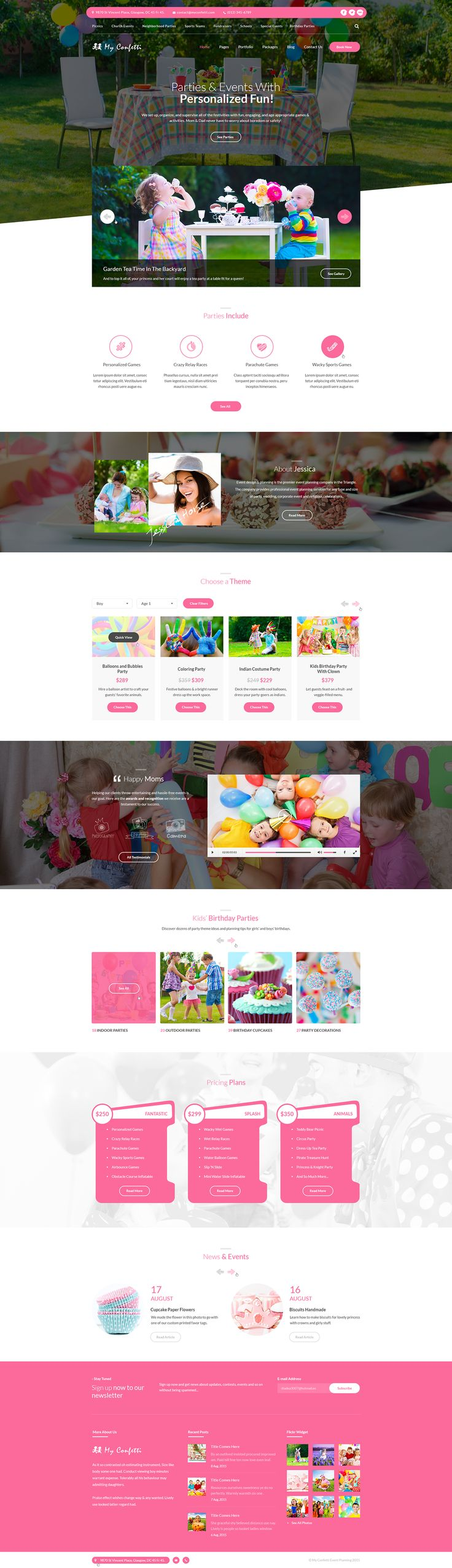 My Confetti - Kids Party Planner PSD Template on Behance