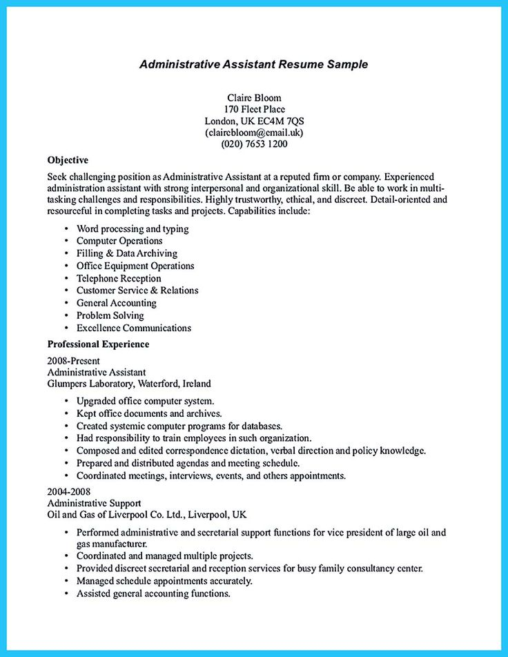 Functional Resume Sample Accounting Clerk Create Professional Sample Resume  For Administrative Assistant Position Executive Sales Administrative  Sample Functional Resume For Administrative Assistant